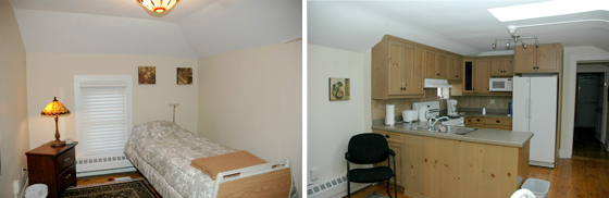 Patient Overnight Stay Bedroom and Patient Overnight Stay Kitchen